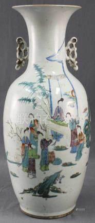Bodenvase China / Japan. Wohl 19. Jahrhundert. Belebte Marktszene.57 cm hoch. Porzellan.Floor Vase