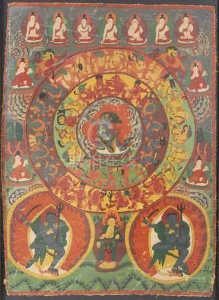 Thangka, mit Lebensrad. Asien.71 cm x 51 cm mit Rahmen gemessen.Thangka, with Wheel of Life. Asia.71