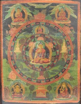 Thangka, mit grüner Tara im Lotussitz. Asien.71 cm x 51 cm mit Rahmen gemessen.Thangka, with green