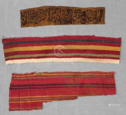 Koptisches Textil - Fragment. Ägypten 4. - 8. Jahrhundert. A.D.5 cm x 19 cm. Dazu 2