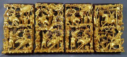 4 Relief Schnitzereien China. Holz. Goldfarben.Je 32 cm x 17,5 cm.4 Carvings China. Wood. Gold