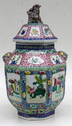 A Chinese famille rose vase and cover, decorated figures and precious object. 56cm (22 ins) high
