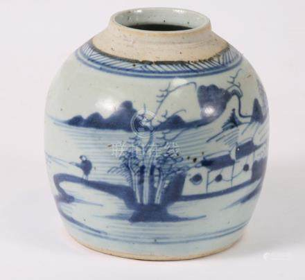 A Chinese blue & white ginger jar decorated with a landscape scene, 16cms (6.25ins) highCondition