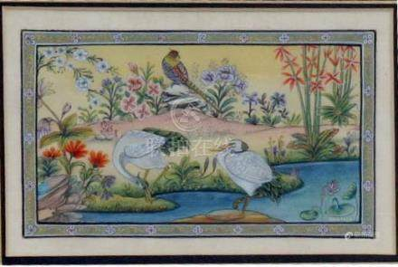 Santash, Indian school - Two Wading Birds by a Pond - signed lower right, painted on silk,