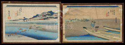 A pair of Japanese woodblock prints depicting figures in a landscape, framed and glazed, 35 by