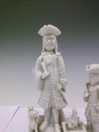 Chinese blanc de chine figure group, depicting European figures, Kang Xi period, 17.5cm high,