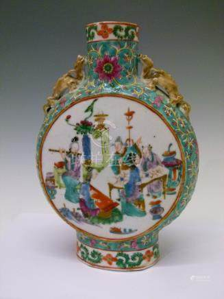 19th Century Chinese Famille Rose moon flask, having two circular reserves decorated with figures in