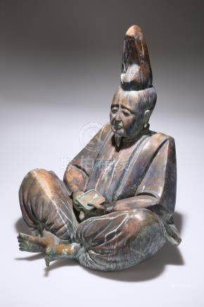 A LARGE ORIENTAL BRONZE FIGURE