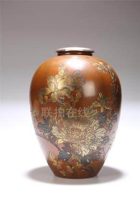 A JAPANESE MIXED METALS ON BRONZE VASE, MEIJI PERIOD