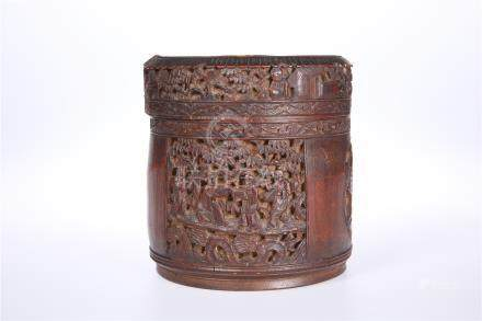 A CHINESE BAMBOO JAR AND COVER, 19TH CENTURY