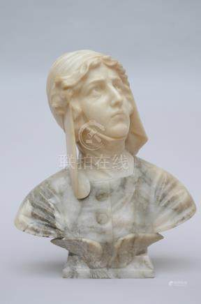 A statue in alabaster 'bust of a woman', ca 1900