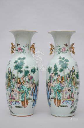 Pair of Chinese vases with double decoration 'sages' and 'lui hai'