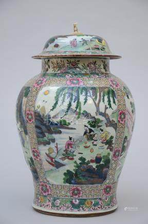 Large Chinese blue and white jar with later famille rose decoration, Kangxi period (*)