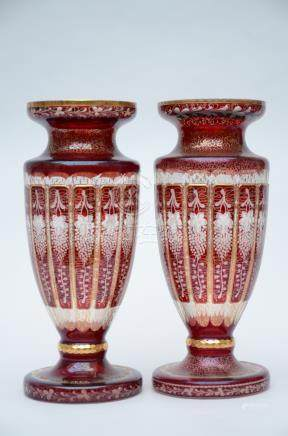 A composite pair of Bohemian crystal vases