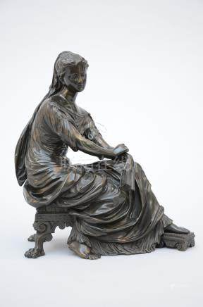 Bronze neo-classical sculpture 'Lady with a book'