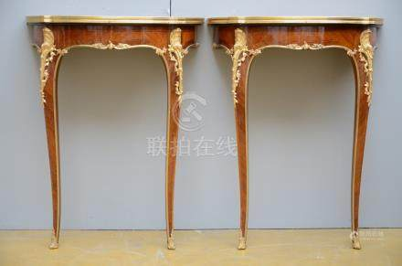 Pair of Louis XV style consoles with marble top