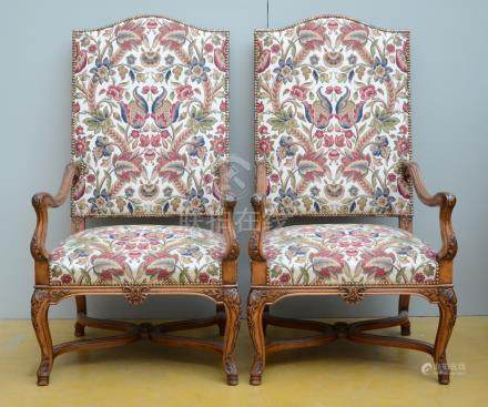 A pair of decorative armchairs