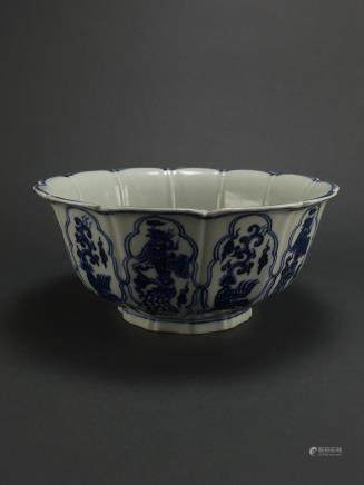 Xuande: Blue and White Lobed Phoenix and Dragon Bowl