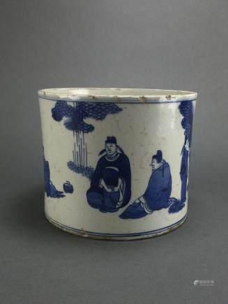 Kangxi: Blue and White Scholar Brushpot