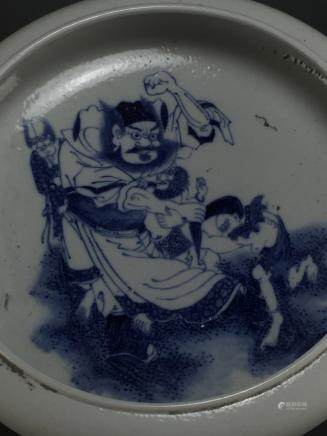 Kangxi: Blue and White Zhong Kui Brush Washer