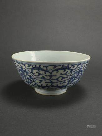Qing Dynasty: Blue and White Peonies Bowl