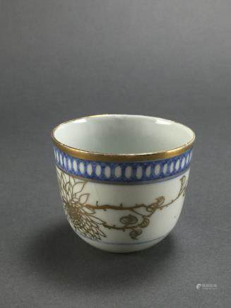 Late Qing Dynasty: Small Blue and White Gold Lining Cup