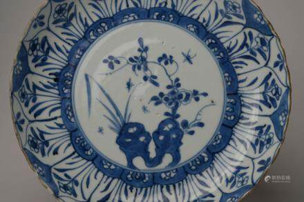 Kangxi: A Blue and White Floral Dish