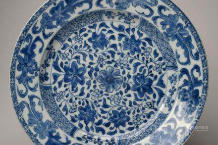 Kangxi: A Blue and White Flower Scroll Dish