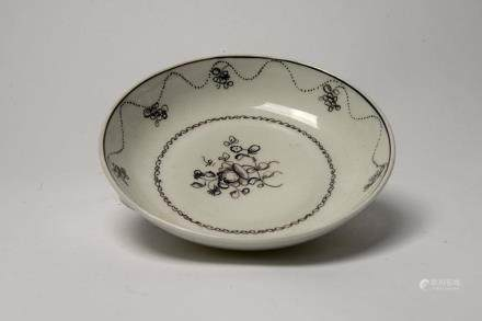 Qianglong: Black and White Flower Saucer
