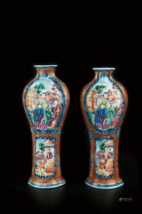 A PAIR OF EXPORT FAMILLE ROSE VASE