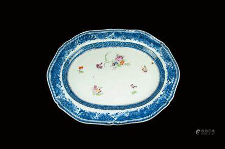 BLUE AND WHITE FAMILLE ROSE EXPORT PLATE