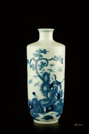 BLUE AND WHITE FIGURE VASE