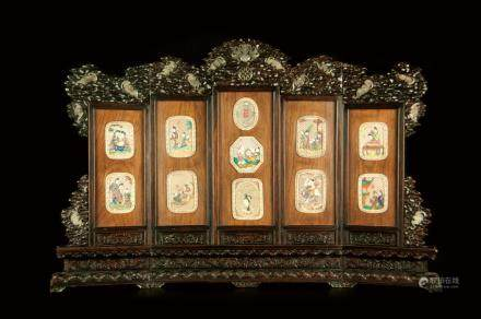 ZITAN-HUANGHUALI INLAY AND JADE CARVING TABLE SCREEN
