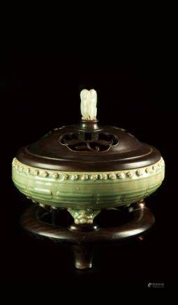 'LONGQUAN' CELADON TRIPOD CENSER WOOD BASE AND LID WHITE JADE