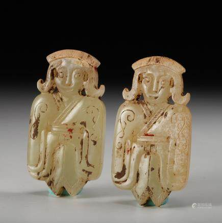 CHINESE PAIR OF JADE FIGURINES