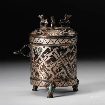 CHINESE BRONZE TAOTIE VESSEL INLAID SILVER