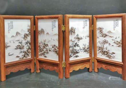 CHINESE REPUBLIC PERIOD PAINTED PORCELAIN SCREEN