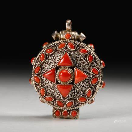 CHINESE SILVER PENDANT INLAID CORAL