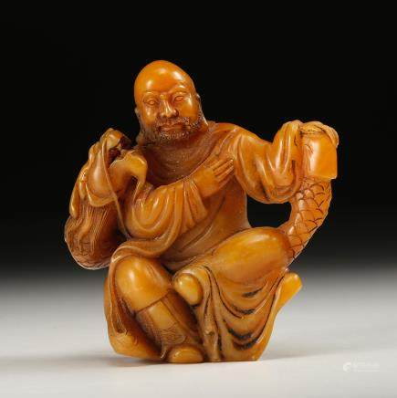 CHINESE TIANHUANG SOAPSTONE CARVED LOHAN