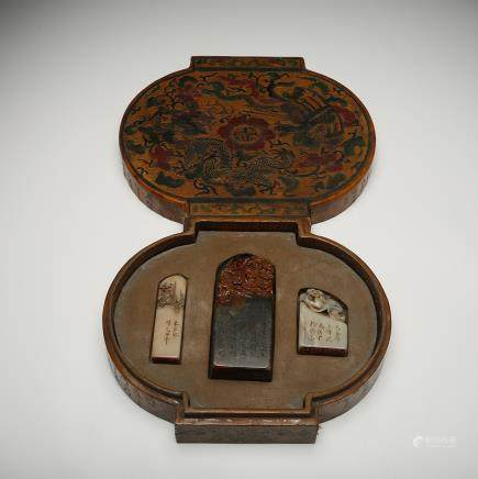 CHINESE SET OF 3 STONE SEALS W/ WOOD BOX
