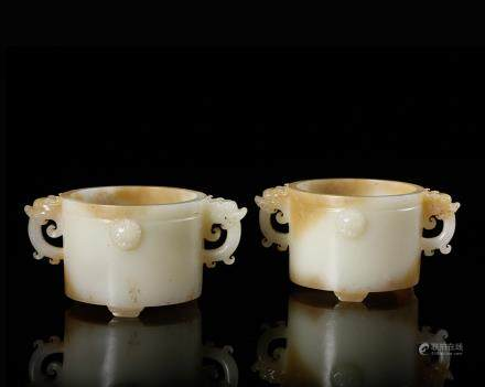 CHINESE PAIR OF WHITE JADE DRAGON CUPS