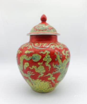 CHINESE YELLOW DRAGON ON RED GROUND PORCELAIN JAR