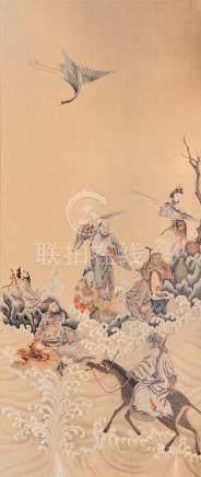 Panneau en hauteur en soie à décor brodé des huit immortels dans les nuages, un