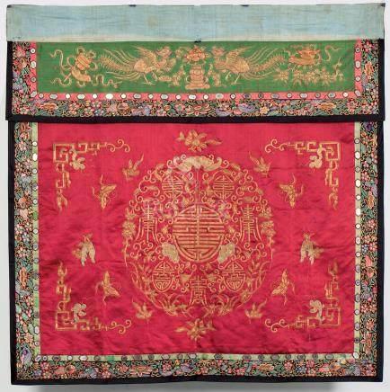 Une Broderie cérémonielle en soie, A Ceremonial silk embroidery, ChinaPanneau c