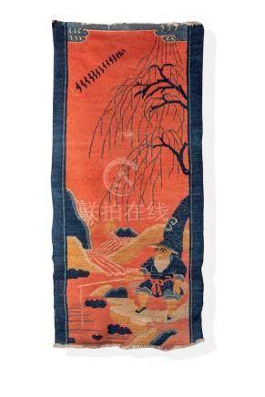 Un ancien tapis, An old Chinese rug, c. 18th century.Représentant un pécheur au