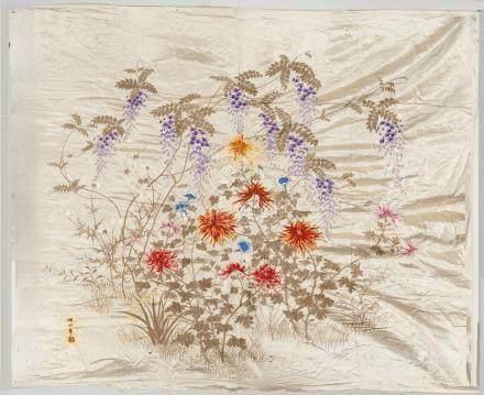 Un panneau de soie brodé en soie, A late 19th century embroidered panelPanneau
