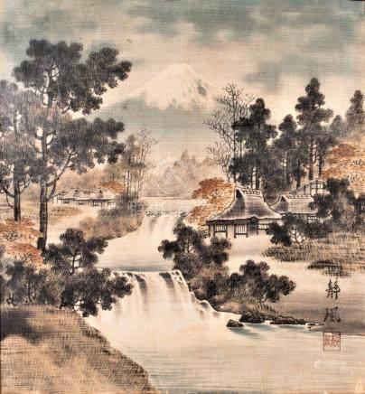 Deux Birodo Yuzen (coton peint au pinceau), A 1900 pair of Birodo Yuzen, JapanV