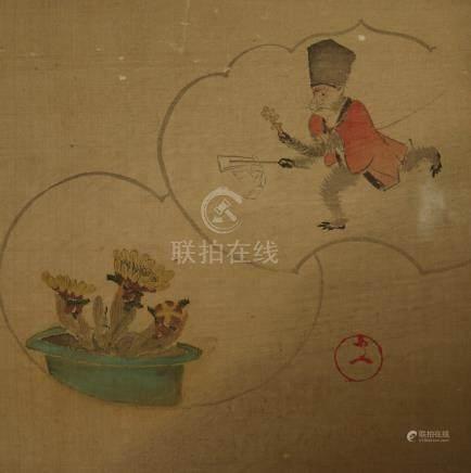 A Japanese uchiwa yoko-e print on silk.              日本绢画.
