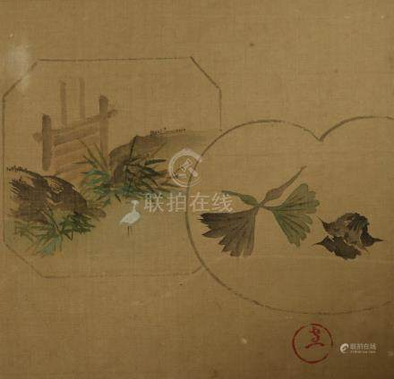 A Japanese uchiwa yoko-e print on silk  .              日本绢画.