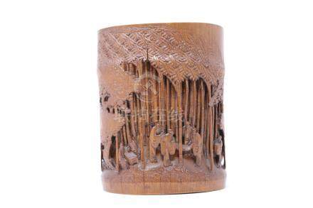 A carved bamboo brush pot 竹雕竹林七贤笔筒